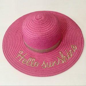 HELLO SUNSHINE Pink Straw Sun Hat LIMITED TOO New